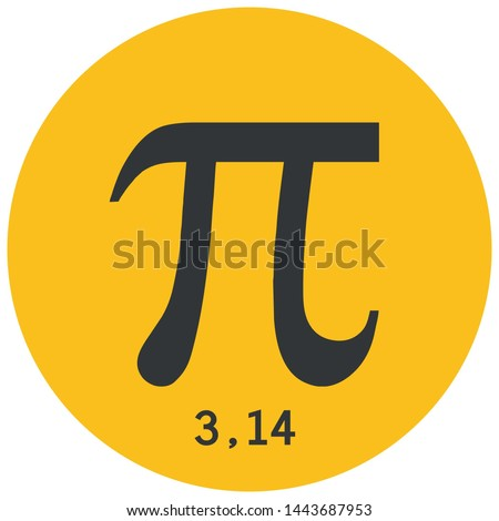 Vector icon sign symbol number pi. The cartoon is a mathematical value of Pi 3.14. Illustration of sticker number pi in flat style