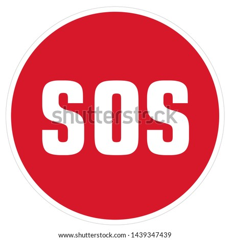 Vector Icon sign symbol SOS. Image red round sign SOS. Illustration sticker sign symbol SOS signal in flat style Stockfoto ©
