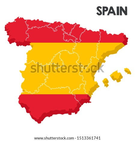 Vector Icon Spain 3d map flag. Image pain map textured under flag. Illustration isometric Spain regions map