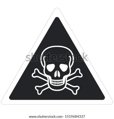 Vector icon Triangle sign danger toxic. A black triangle sign with a skull toxic  sign. Illustration sticker of a toxic skull symbol sign in flat minimalism style.