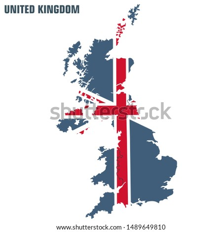 Vector icon united kingdom map. Image Great Britain map textured under flag. Illustration England map flag in flat style