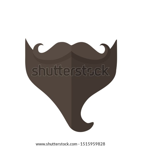 Vector Icon vintage man mustache beard. Image brown beard and  mustache. Illustration silhouette mustache in flat style