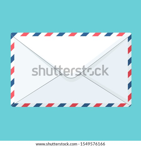 Vector icon white envelope. Illustration stripped postal envelope letter is in a flat style.