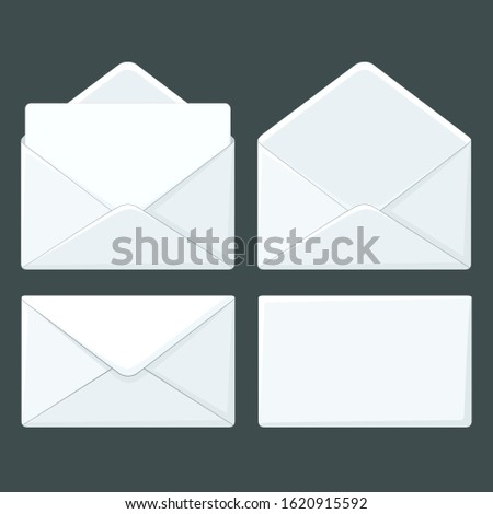 vector icon white post envelope. Image open and close post envelope set. Illustration envelope letter in flat style