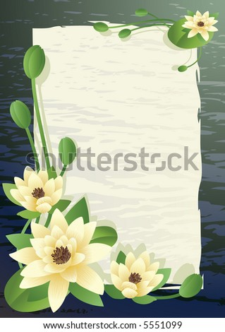 Vector illustration - a pond with fine blossoming lilies