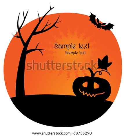 Vector illustration. Black silhouette of Halloween pumpkin, bat and tree.