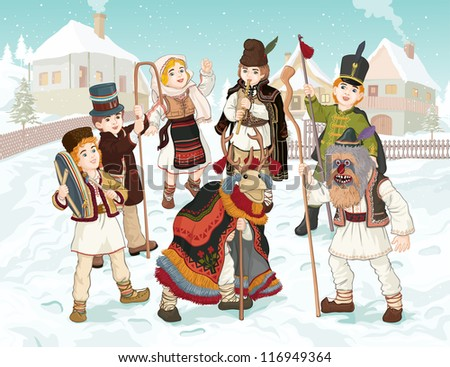 Vector illustration, celebrating winter holidays in Romania, card concept.