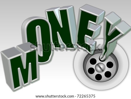 Vector illustration of a business idiom money down the drain / Money down the drain /