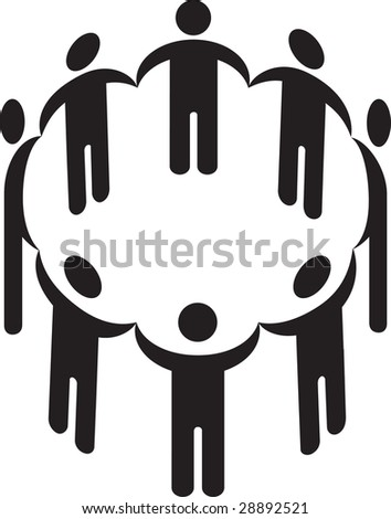 Vector illustration of a circle of people holding hands silhouette - stock photo