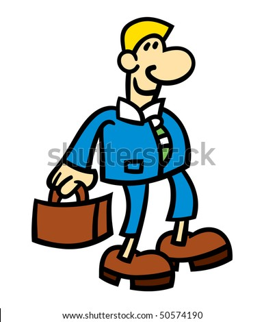 Vector illustration of a smiling cartoon man wearing a blue suit and holding a briefcase
