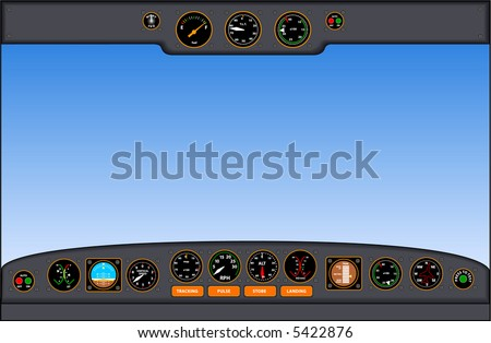 vector illustration of an airplane cockpit