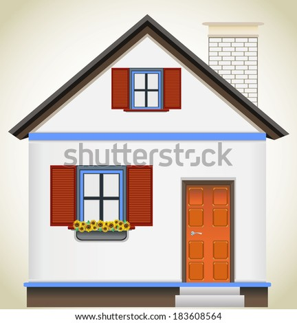 Vector illustration of cool detailed  house icon