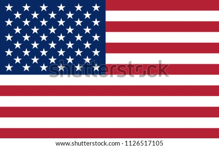 Vector illustration of the flag of the UNITED STATES OF AMERICA. USA flag in the most accurate proportions, sizes and colors. #1126517105