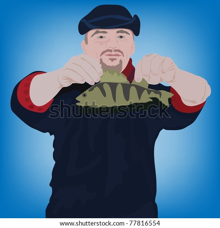 vector illustration of the happy fishman with fish