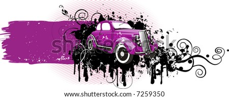 Vector illustration of vintage pink car. Grunge version.