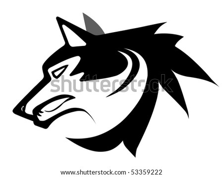 stock photo : Vector illustration of wolf face black and white tattoo