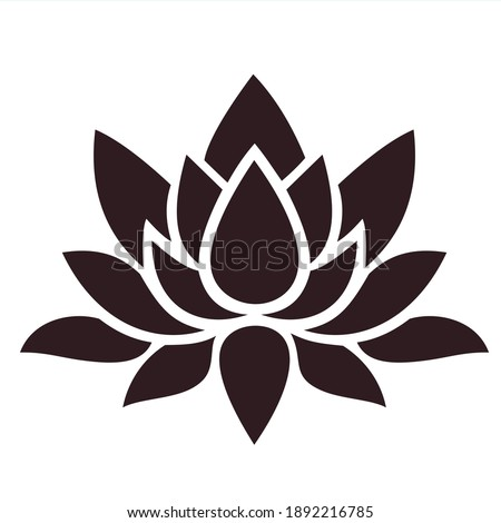 vector Image lotus flower signsilhouette. Stock icon lotus flower silhouette
