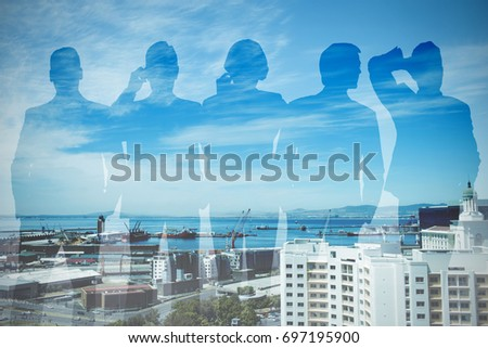 Vector image of business people against buildings by sea against sky