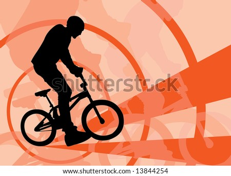 vector image of cyclist riding by bmx