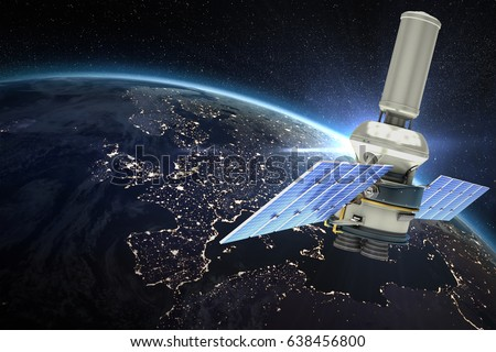Vector image of 3d modern solar power satellite against aerial view of the earth