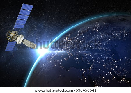 Vector image of 3d modern solar satellite against aerial view of the earth