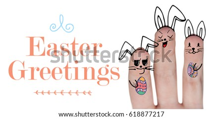 Vector image of fingers representing Easter bunny against easter greeting #618877217