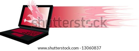 vector image of laptop and fire-hawk graphics isolated on white. - stock photo