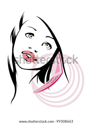 vector image of young pretty woman calling by phone. isolated on white