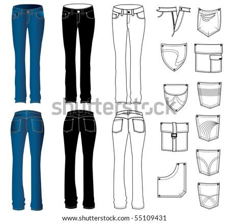 Vector jeans for women. Rasterized vector