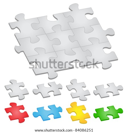Vector jigsaw puzzle on white background