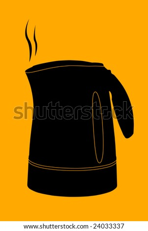 Vector kettle silhouette on orange