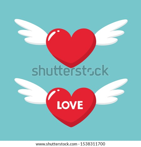 Vector Love Icon heart with wings. Image flying hearts set. Illustration heart with wings in flat style