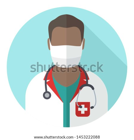 Vector medical icon doctor surgeon. Image Doctor in mask and with stethoscope. Avatar Medic Illustration in a flat style.