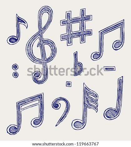Vector musical notes. Raster version