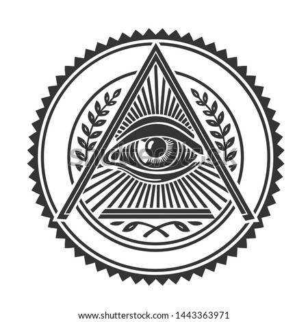 Vector occult all-seeing eye sign icon. The symbol of the Freemasons is the eye of God in the triangle. Illustration of the all-seeing eye in flat minimalism style.