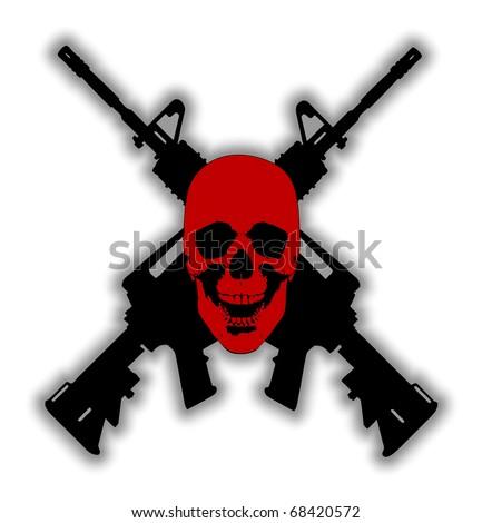 Guns Crossed Logo Two Guns Crossed Behind