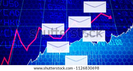 Vector of envelopes against stocks and shares