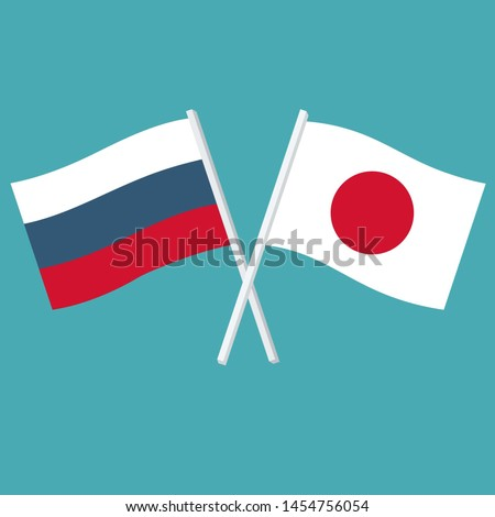 Vector political  icon set of flags of the Japan and Russia. Illustration Japan and Russian flags are crossed and swaying in the wind. Image Japan Russia flags in flat style