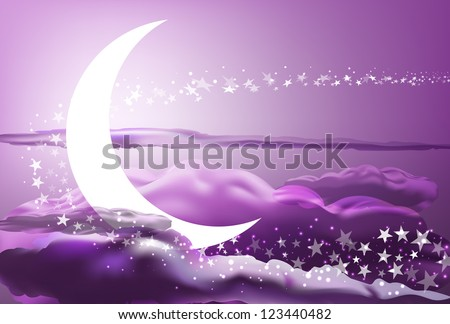 vector romantic scene with moon, stars and pink clouds, vector version available