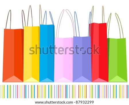 Vector row of shopping bags and striped pattern.