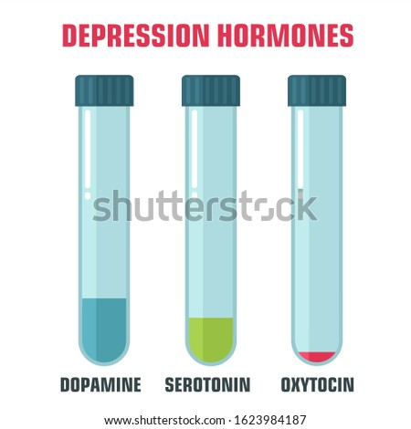vector science icon emotion and chemistry of hormones. Image depression emotion hormones. Illustration depression hormones in flat style
