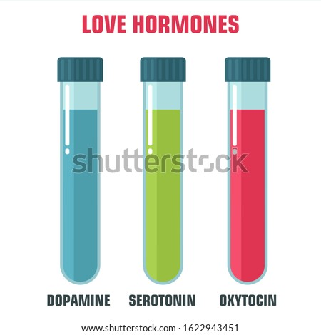 vector science icon emotion and chemistry of hormones. Image love emotion hormones. Illustration love hormones in flat style