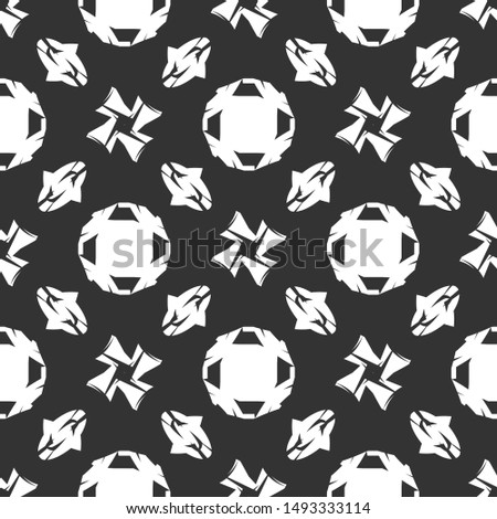 Vector seamless pattern. Abstract background with hipster symbol of hugs. Monochrome hand drawn print. Trendy monochrome texture.