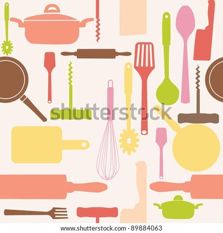 Vector seamless pattern of kitchen tools. - stock photo