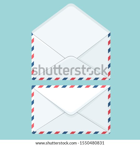 Vector set icon white envelope. Image open and close white envelops. Illustration white postal envelope in flat style.