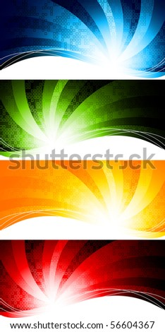 Vector set of abstract tech background; clip-art