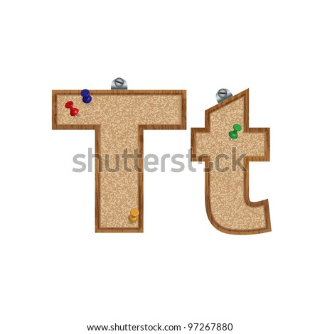 Vector set of font looking as a cork board with 3D pushpins - letter T - vector also available