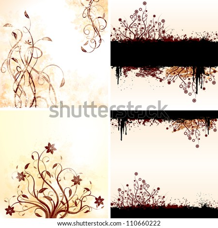 Vector set of grunge floral backgrounds. Raster version, vector file id: 110100893