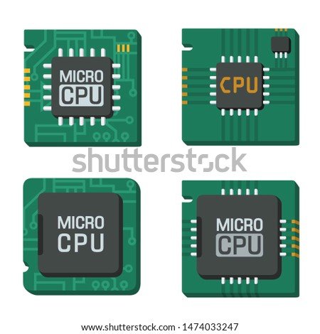 Vector set tech computer chip icon. Image computer processor chip text: MICRO CPU. Chip illustration in flat style.