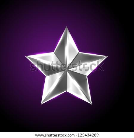 Vector shiny silver star - raster version